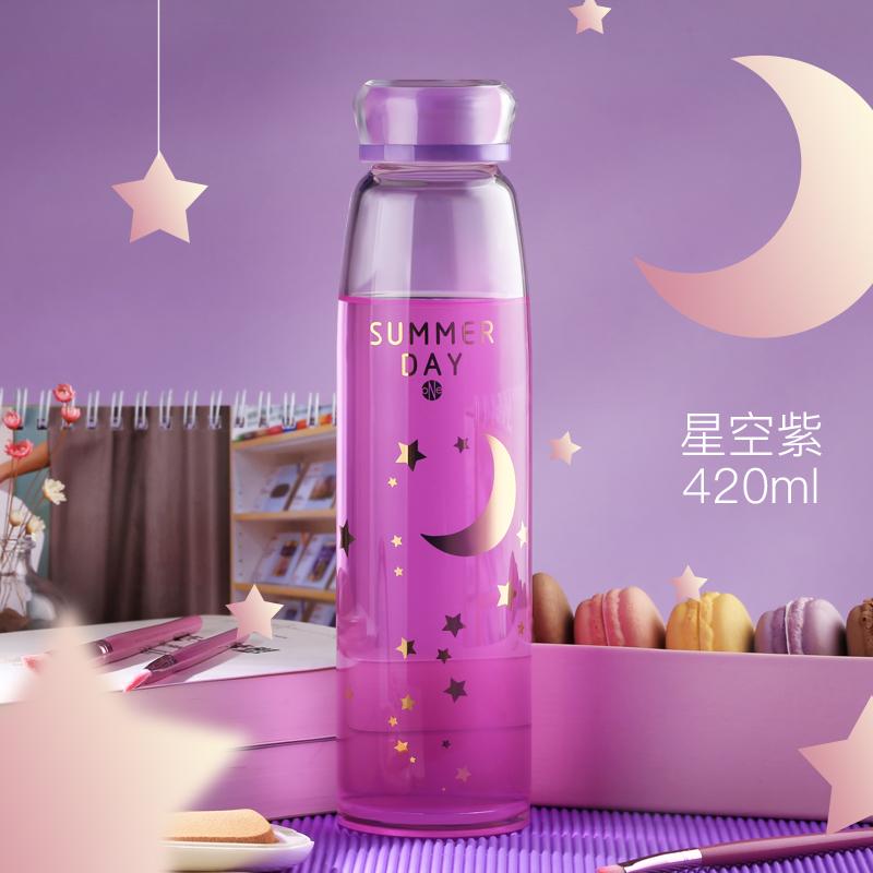学生喝水杯可爱透明玻璃杯时尚便携韩国韩版水瓶女士茶杯随手杯子