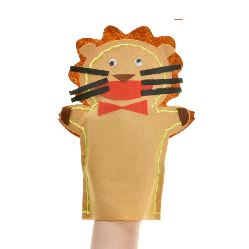 手工制作diy动物贴画创意针线缝制玩偶 布艺手偶 不织布手偶_09号狮子