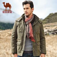 骆驼男装 款棉衣 男士连帽棉服 商务休闲棉衣