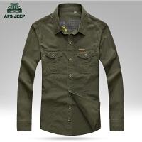 男士长袖衬衫春装新品格子衬衫宽松休闲衬衣纯棉纯色休闲男装长衬衫
