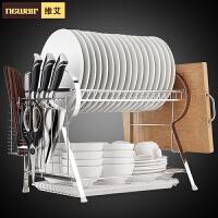 维艾双层不锈钢碗架沥水架厨房用品收纳厨房置物架碗筷晾放碗碟架