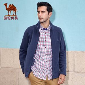 骆驼男装卫衣 秋季新款纯色拉链开衫青年商务休闲长袖卫衣男