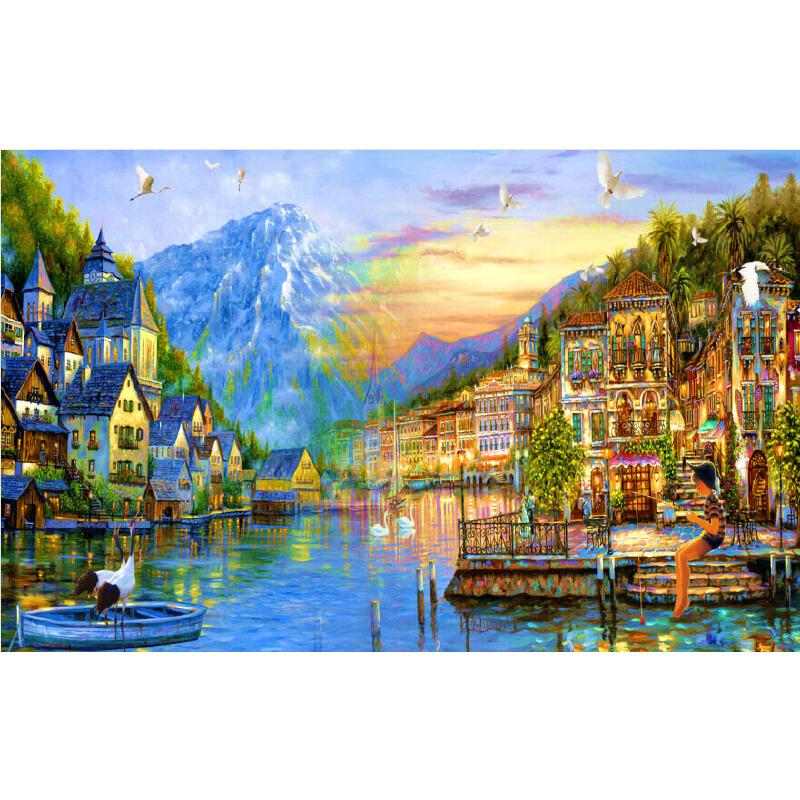 1000片木質拼圖1500片世界名畫唯美風景裝飾油畫湖邊小鎮2_現貨1000片