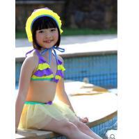 新款蕾丝蓬蓬裙女童     韩版可爱公主泳帽分体裙  小清新儿童游泳衣