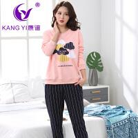 香港康谊睡衣女纯棉秋冬季长袖长裤女士卡通睡衣全棉家居服套装女