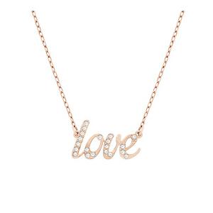 Swarovski/施华洛世奇 女士镀玫瑰金色love字母Emotion项链 支持礼品卡支付