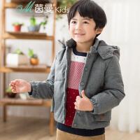 茵曼童装秋冬新款中大男童梳织长袖上衣短款连帽棉外套【3863052114】
