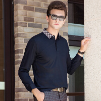 伯克龙 男士莱卡丝光棉修身短袖POLO衫 男装中青年纯色翻领休闲T恤衫Z5220【含桑蚕丝,手感很好,垂坠有型】