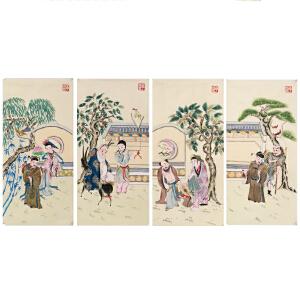 《八仙》国家非物质文化遗产,带证书,手绘扑灰年画,R206