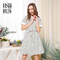 【女装盛典 2件5折】OSA欧莎夏装女2017夏装新款女装彩色条纹系带衬衫式连衣裙B13008