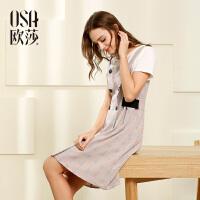 OSA欧莎2017夏装新款女装 百搭格纹收腰无袖连衣裙B13040
