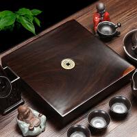 林仕屋  小号木制茶托茶具整块原木红木茶台排水式 黑檀木实木茶盘CP2688