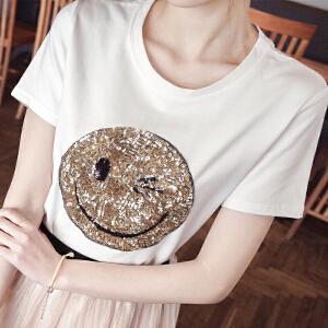 亮片笑脸短袖女短袖T恤NRE02-7001