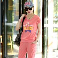 卫衣两件套时尚运动套装女夏潮 新款韩版休闲套装女夏短袖圆领