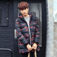 冬季新款棉服 男装韩版修身棉衣男中长款花色带帽男士棉服外套衣服