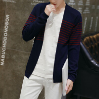 男士长袖假两件毛衣韩版修身套头V领针织衫
