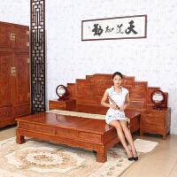 包邮简迪红木家具实木床1.8米主卧双人床步步高大床中式仿古花梨木床婚床卧室成套家具