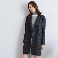茵曼毛呢大衣女格子呢大衣羊毛呢外套女毛呢大衣女【1863321186】