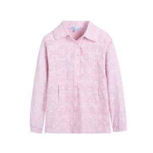 派克兰帝品牌童装 女童秋装秋装田园碎花套头长袖衬衫  儿童衬衫