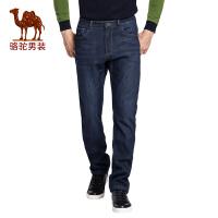 骆驼男装   冬季男士拉链商务休闲加绒加厚牛仔裤长裤子男