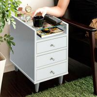 择木宜居 现代简约床头柜 钢化玻璃储物柜带抽屉 收纳边几