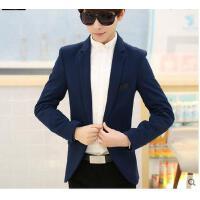 韩版青少年长袖小西装男结婚礼服修身男装西服纯色薄款外套潮