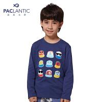 派克兰帝童装 男童卡通帽子绣花长袖T恤儿童秋季上衣