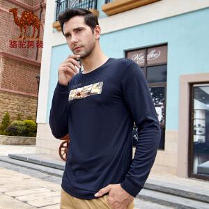 骆驼男装时尚印花T恤 秋季新款圆领商务休闲长袖T恤衫男青年