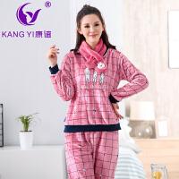 香港康谊新款珊瑚绒睡衣女冬法兰绒卡通睡衣女长袖家居服套装女冬