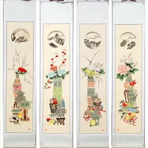 国家非遗《四季平安》已装裱,高密扑灰年画,胡鸿书-非物质文化遗产传承人
