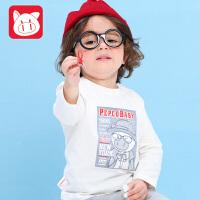 小猪班纳童装宝宝长袖t恤男童打底衫长袖2017春秋款儿童体恤休闲上衣