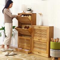家逸实木鞋柜翻斗大容量简约现代翻门鞋柜门厅玄关鞋架多层 双色