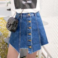 大码女装胖人夏季200斤大码显瘦排扣不规则下摆拼接牛仔半身裙MXGB327