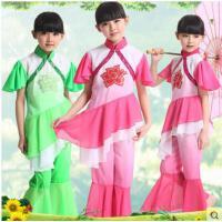 时尚绚丽多彩亮片儿童圣诞节演出服女童汉族秧歌舞表演服幼儿古典舞民族舞蹈服