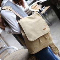 新款双肩包女韩版休闲帆布背包简约学生书包纯色