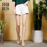OSA欧莎2017夏装新款女装贴布刺绣白色牛仔裤短裤女B53025