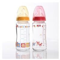 nuk 奶瓶 德国NUK宽口径耐高温玻璃彩色婴儿奶瓶 新生儿奶瓶 防胀气240ML 不含双酚A