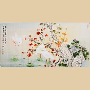 《春华秋实富美满堂》张一娜-中国女工笔画协会委员,书画家协会一级美术师