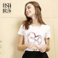 OSA欧莎女装2017夏装新品心形字母印花时尚百搭T恤S117B11022