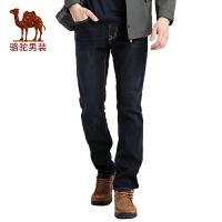 骆驼男装 秋冬季新款宽松直筒商务休闲加绒加厚牛仔裤长裤子男