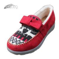 欣清/XQ冬季新款居家棉拖鞋正品保暖平跟防滑老少皆宜特色花纹