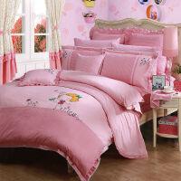富安娜家纺 四件套学生白领床品简单萌趣 粉色-甜心时光