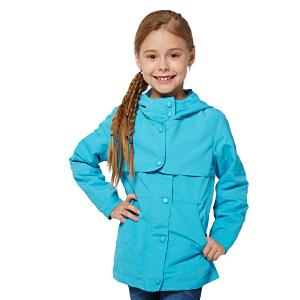 派克兰帝 女童冲锋衣 儿童户外拼接外套