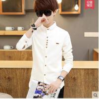 亚麻修身纯色寸衫男士薄款衣服青少年白色衬衣长袖衬衫潮流