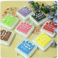 韩国 八色盒装印油印泥 印章* 小印章用印油 印泥 DIY相册必备