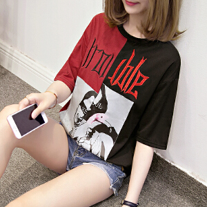 夏季宽松不对称撞色拼接撞色字母刺绣短袖t恤大码女装JM028-7138