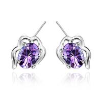 相思树 耳饰925纯银紫水晶花朵女士韩版耳钉 时尚饰品不过敏  ED013