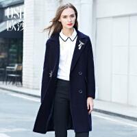 限时抢欧莎 冬装新款 趣味绣花西装领中长款毛呢外套