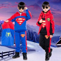 秋新套装儿童男童套装冬装超人童装三件套加绒加厚卫衣圣诞节装扮