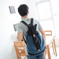 吉野帆布包2016新款男士背包休闲男女双肩包高中大学生书包百搭学院风旅行背包水桶包2012A5
